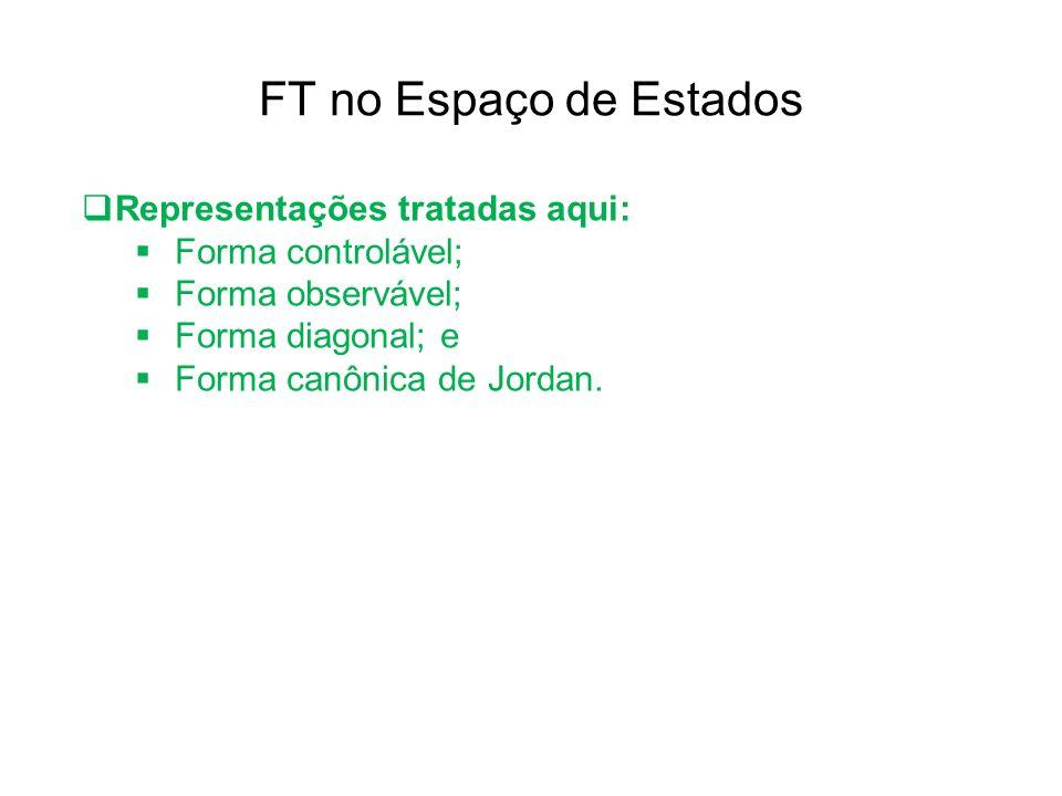 FT no Espaço de Estados Representações tratadas aqui: Forma controlável; Forma observável; Forma diagonal; e Forma canônica de Jordan.