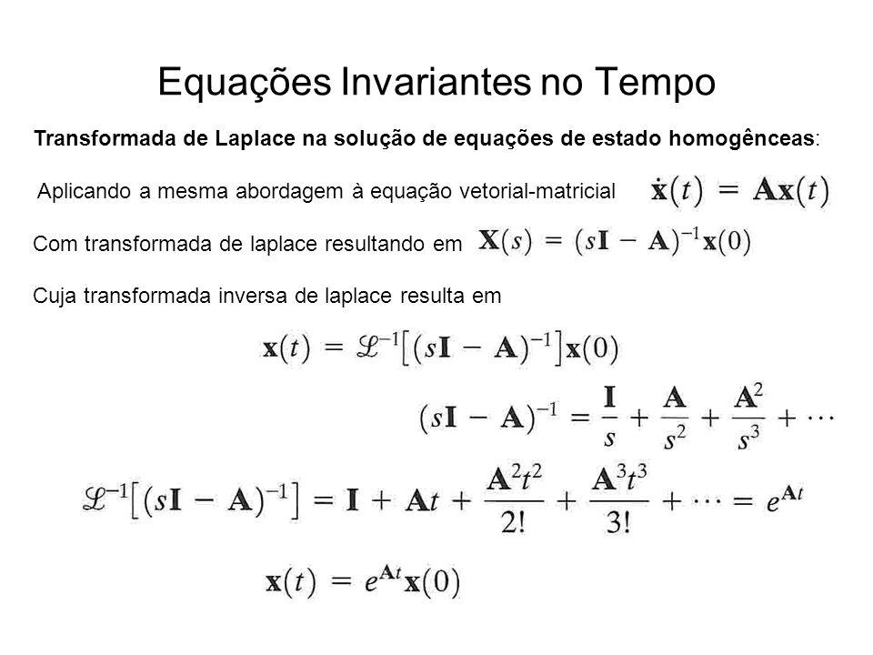 Equações Invariantes no Tempo Transformada de Laplace na solução de equações de estado homogênceas: Aplicando a mesma abordagem à equação vetorial-mat