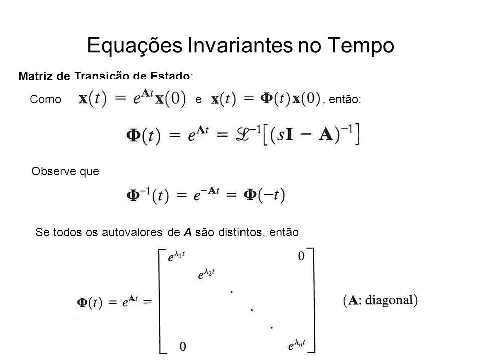 Equações Invariantes no Tempo Matriz de Transição de Estado: Como e, então: Observe que Se todos os autovalores de A são distintos, então
