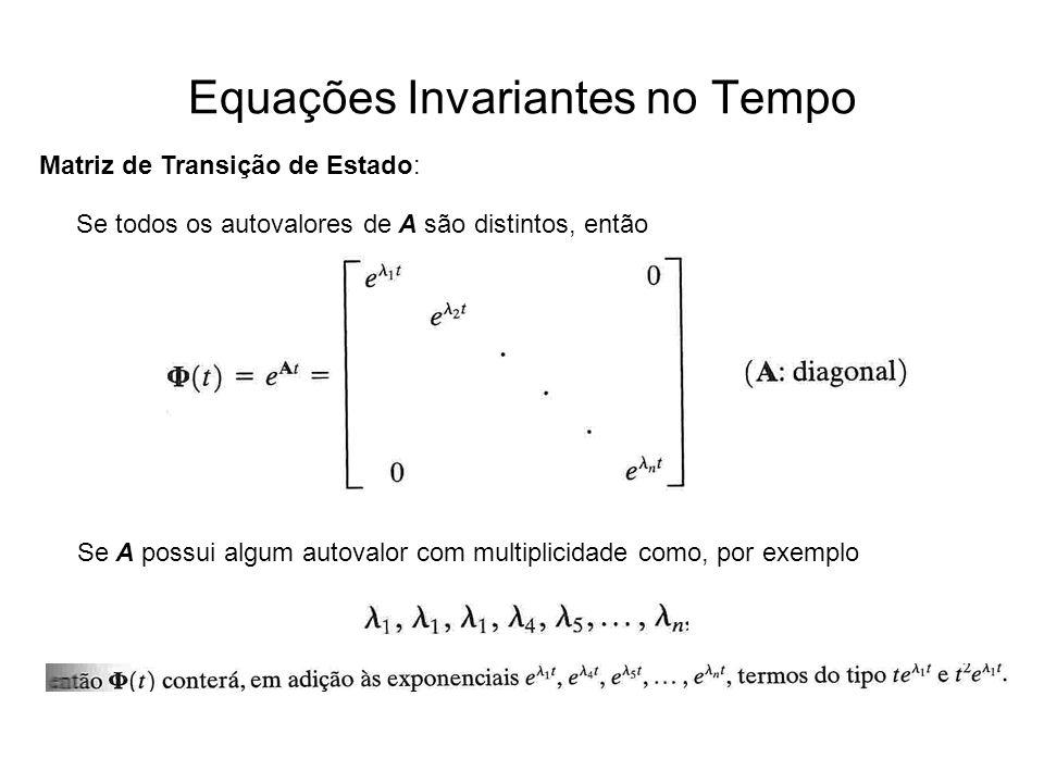 Equações Invariantes no Tempo Matriz de Transição de Estado: Se todos os autovalores de A são distintos, então Se A possui algum autovalor com multipl