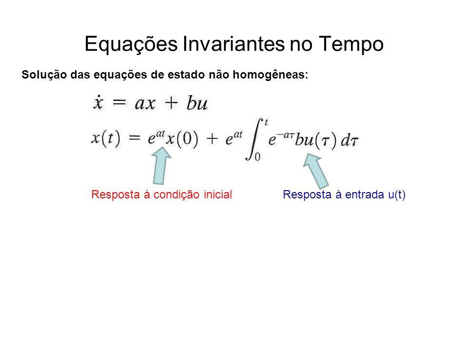 Equações Invariantes no Tempo Solução das equações de estado não homogêneas: Resposta à condição inicialResposta à entrada u(t)