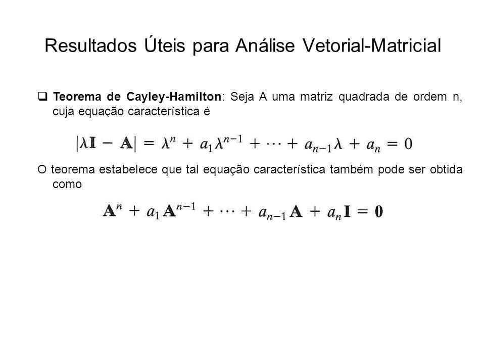Resultados Úteis para Análise Vetorial-Matricial Teorema de Cayley-Hamilton: Seja A uma matriz quadrada de ordem n, cuja equação característica é O te
