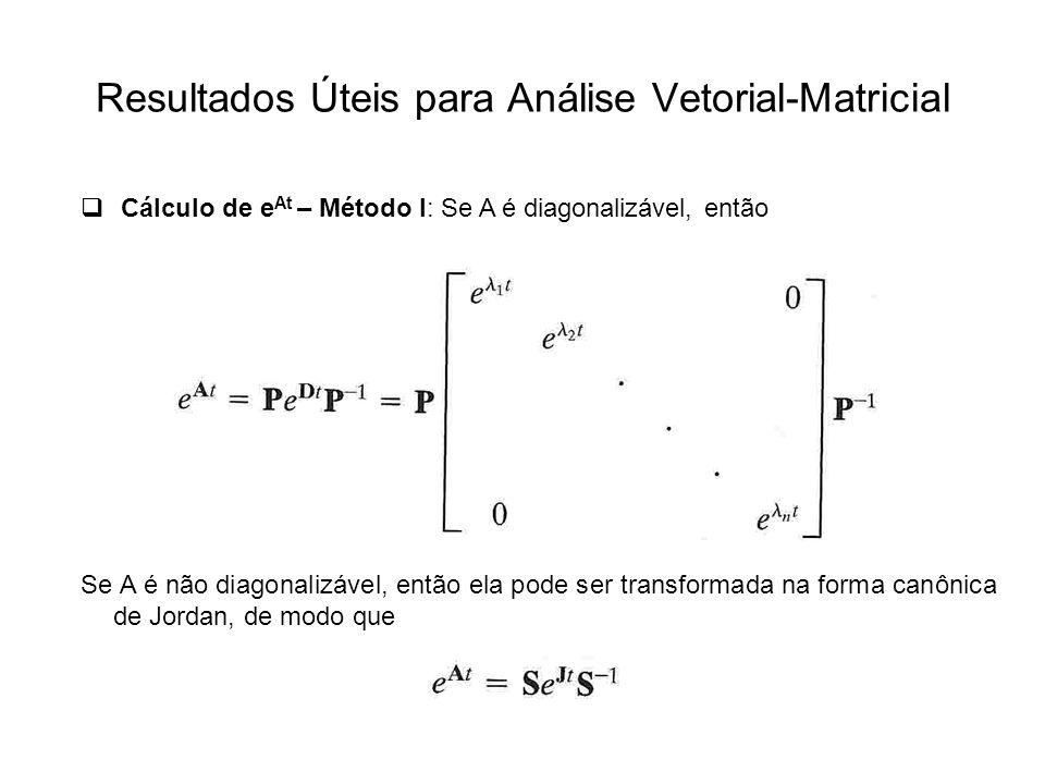 Resultados Úteis para Análise Vetorial-Matricial Cálculo de e At – Método I: Se A é diagonalizável, então Se A é não diagonalizável, então ela pode se