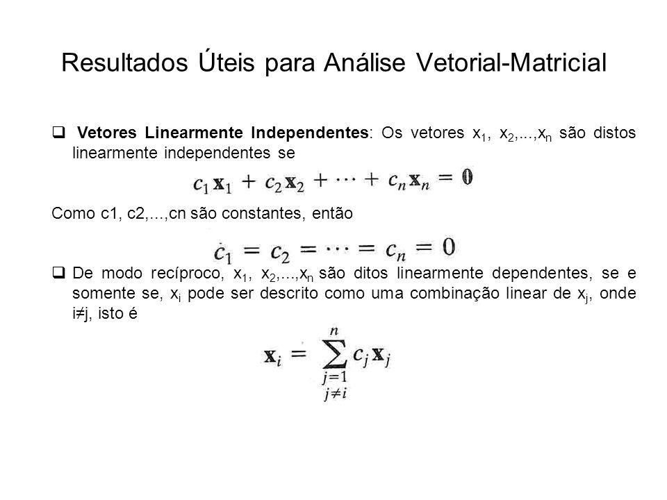 Resultados Úteis para Análise Vetorial-Matricial Vetores Linearmente Independentes: Os vetores x 1, x 2,...,x n são distos linearmente independentes s