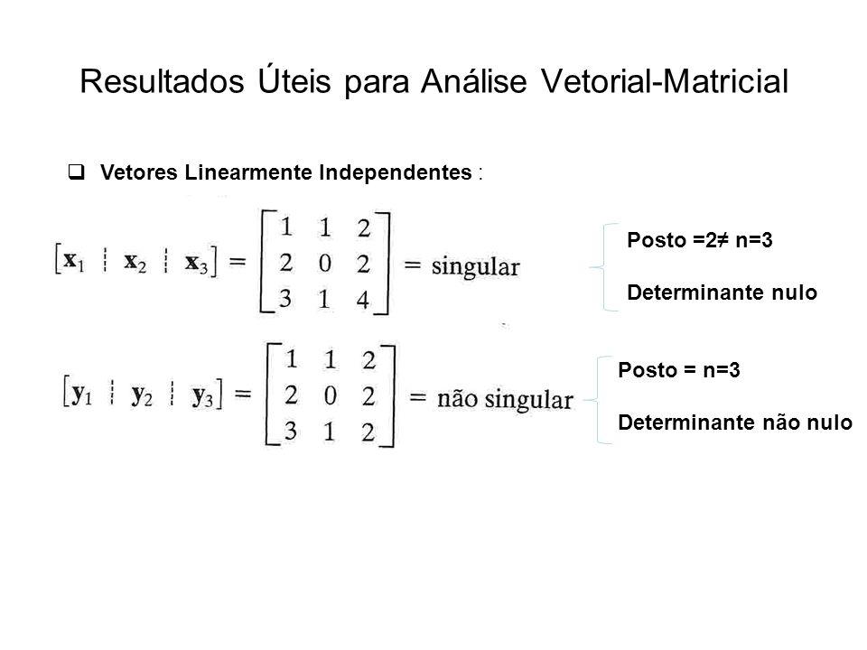 Resultados Úteis para Análise Vetorial-Matricial Vetores Linearmente Independentes : Posto = n=3 Determinante não nulo Posto =2 n=3 Determinante nulo