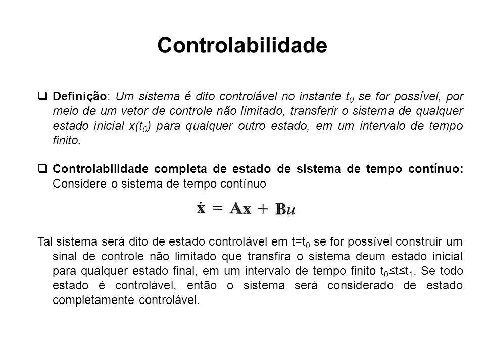 Controlabilidade Definição: Um sistema é dito controlável no instante t 0 se for possível, por meio de um vetor de controle não limitado, transferir o
