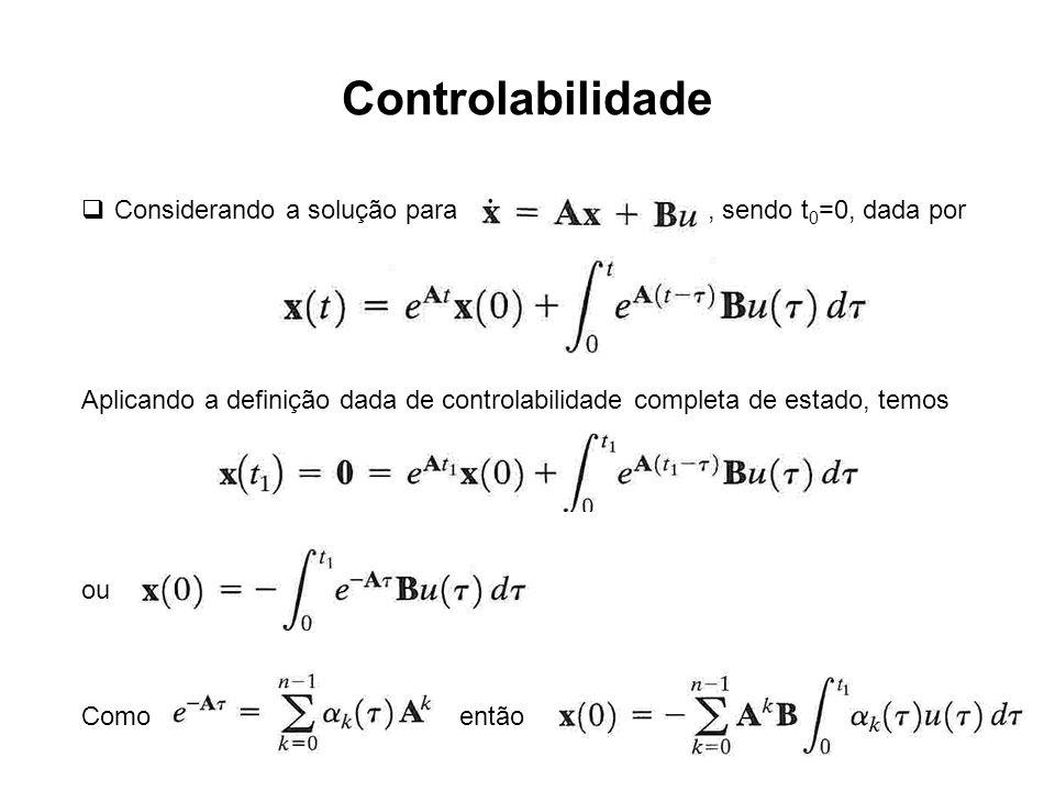 Controlabilidade Considerando a solução para, sendo t 0 =0, dada por Aplicando a definição dada de controlabilidade completa de estado, temos ou Como