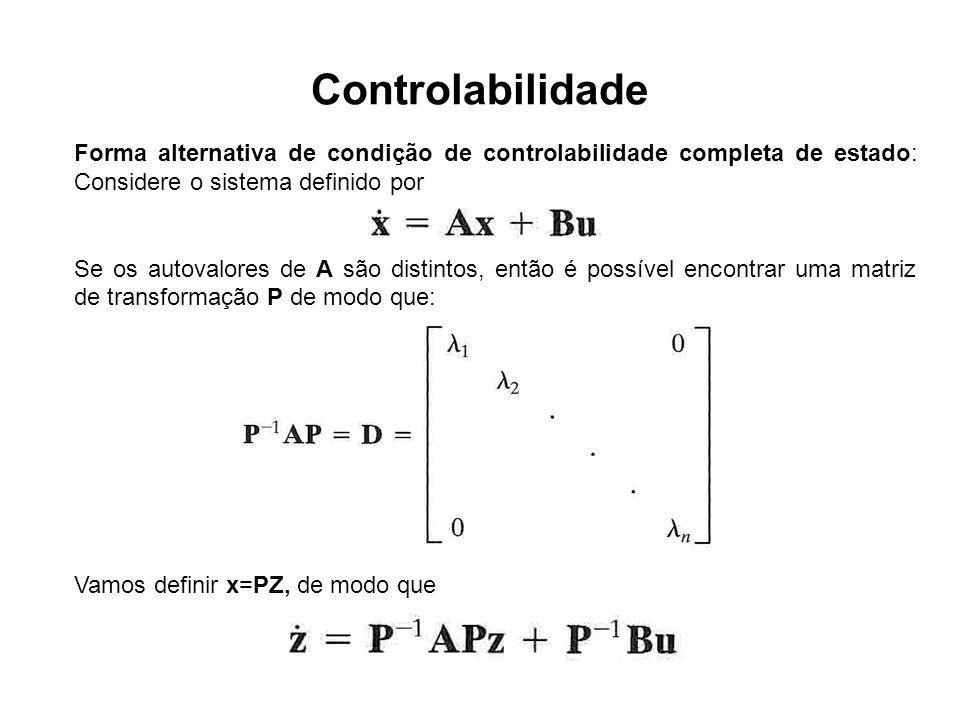 Controlabilidade Forma alternativa de condição de controlabilidade completa de estado: Considere o sistema definido por Se os autovalores de A são dis