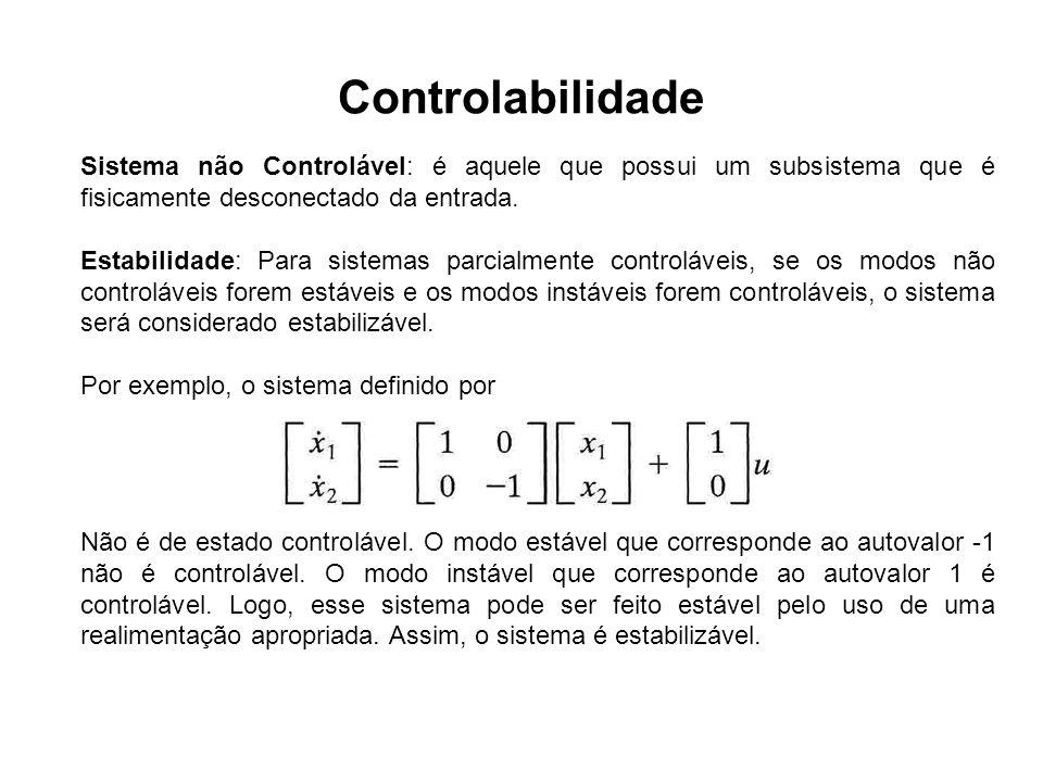 Controlabilidade Sistema não Controlável: é aquele que possui um subsistema que é fisicamente desconectado da entrada. Estabilidade: Para sistemas par