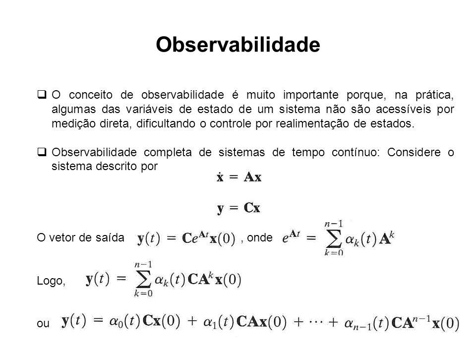 Observabilidade O conceito de observabilidade é muito importante porque, na prática, algumas das variáveis de estado de um sistema não são acessíveis