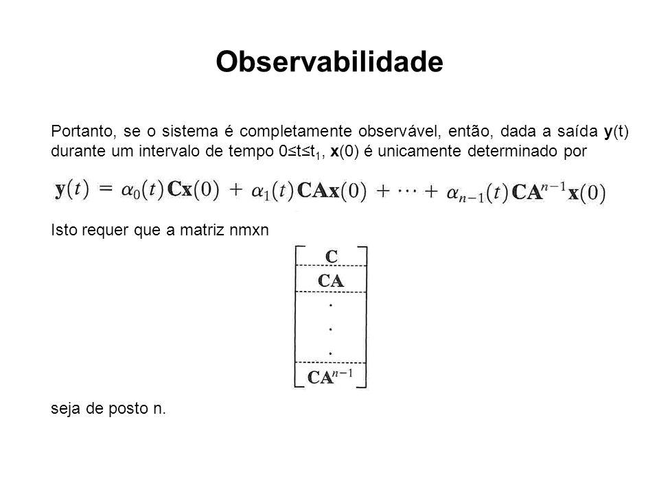 Observabilidade Portanto, se o sistema é completamente observável, então, dada a saída y(t) durante um intervalo de tempo 0tt 1, x(0) é unicamente det