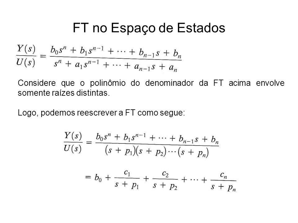 FT no Espaço de Estados Considere que o polinômio do denominador da FT acima envolve somente raízes distintas. Logo, podemos reescrever a FT como segu