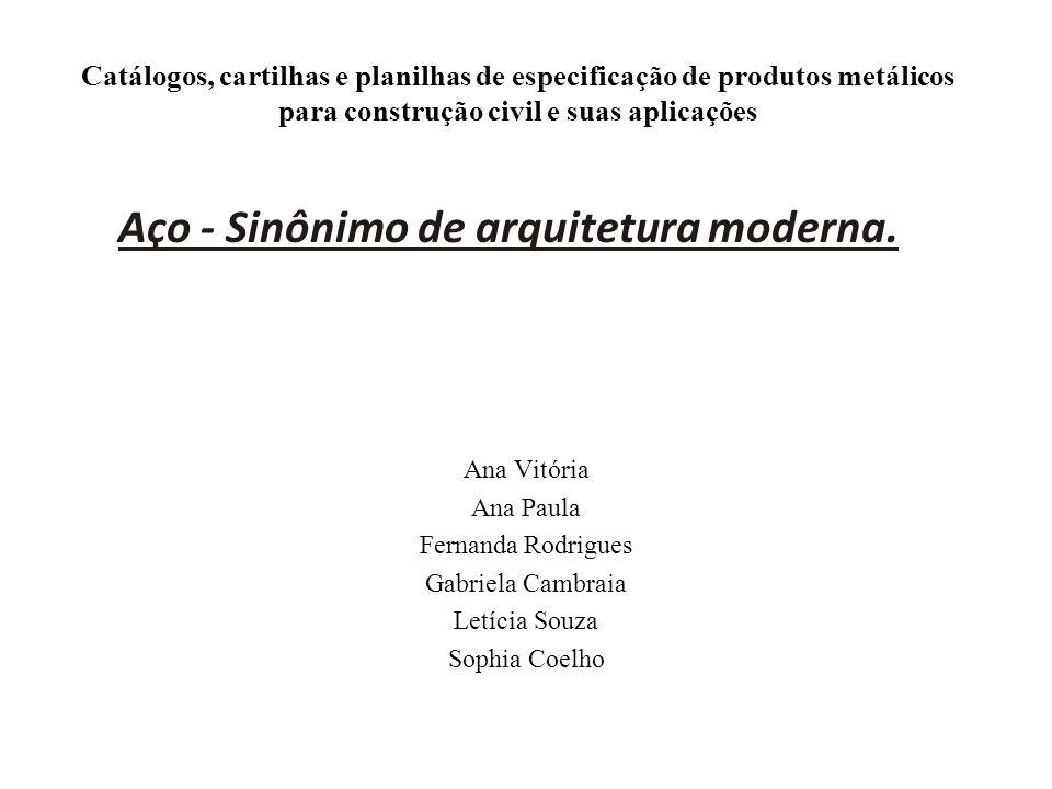 Catálogos, cartilhas e planilhas de especificação de produtos metálicos para construção civil e suas aplicações Ana Vitória Ana Paula Fernanda Rodrigu