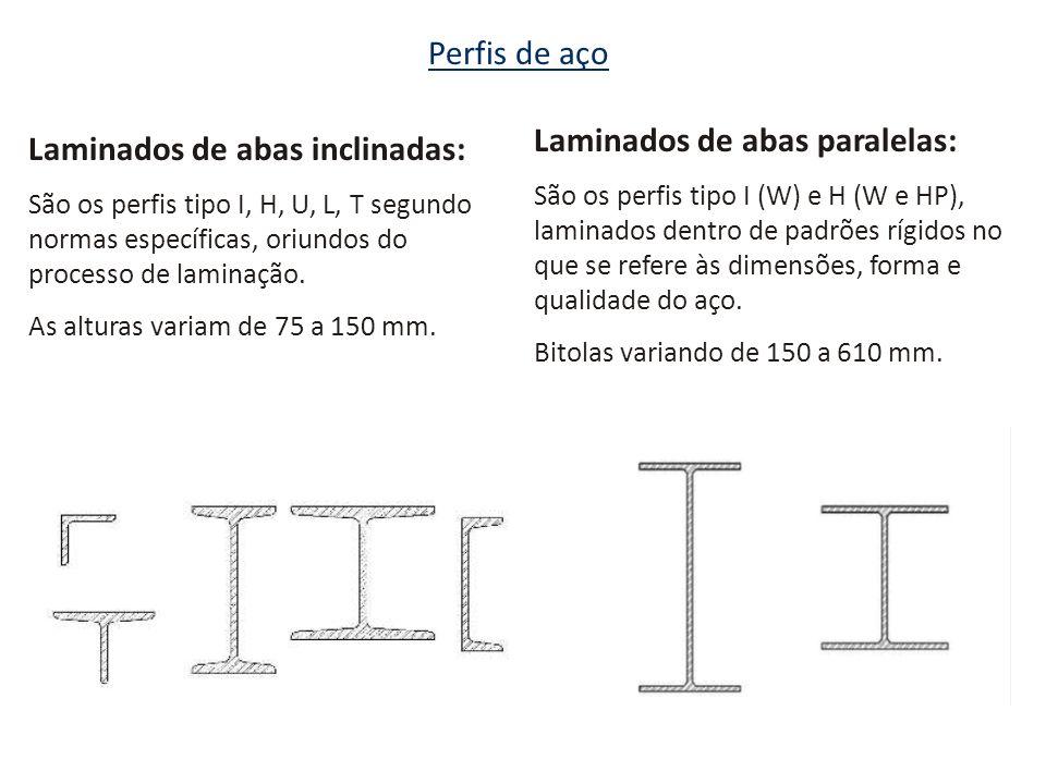 Perfis de aço Laminados de abas inclinadas: São os perfis tipo I, H, U, L, T segundo normas específicas, oriundos do processo de laminação. As alturas
