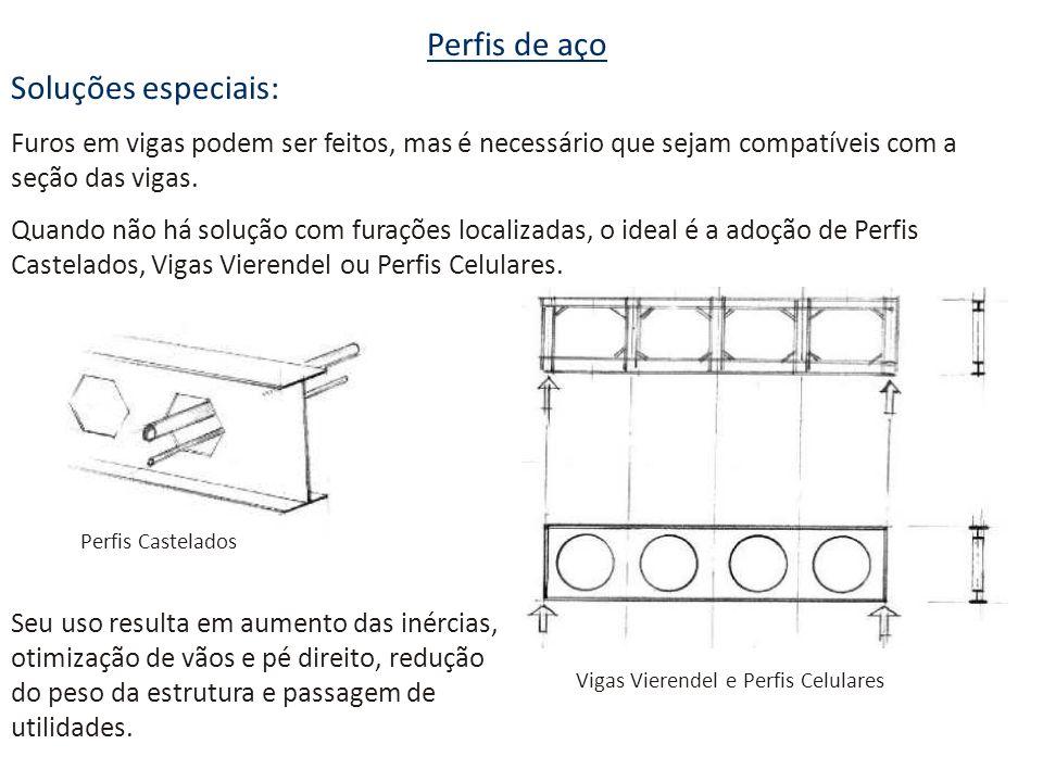 Perfis de aço Soluções especiais: Furos em vigas podem ser feitos, mas é necessário que sejam compatíveis com a seção das vigas. Quando não há solução