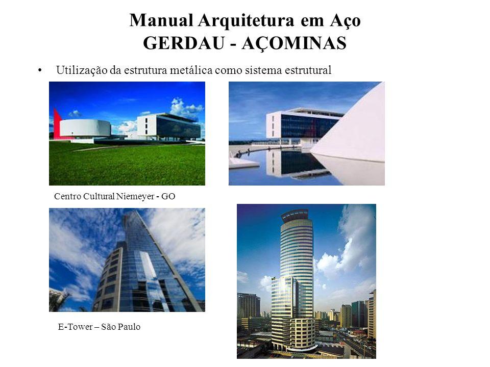 Manual Arquitetura em Aço GERDAU - AÇOMINAS Utilização da estrutura metálica como sistema estrutural. Centro Cultural Niemeyer - GO E-Tower – São Paul