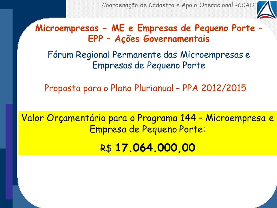 Coordenação de Cadastro e Apoio Operacional -CCAO Microempresas - ME e Empresas de Pequeno Porte – EPP – Ações Governamentais Fórum Regional Permanent