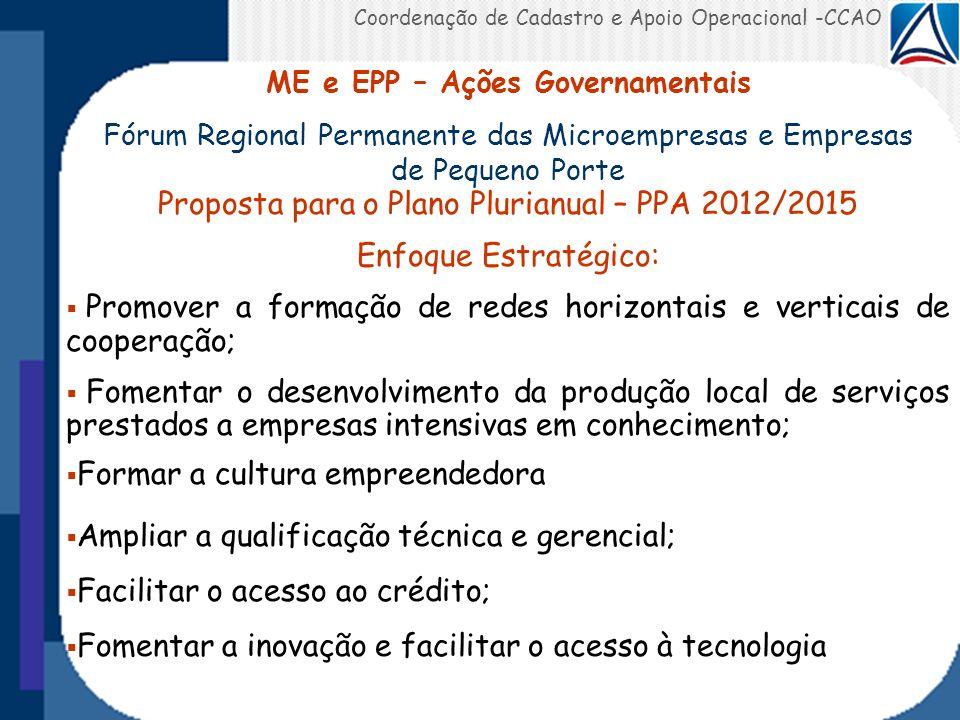 Coordenação de Cadastro e Apoio Operacional -CCAO ME e EPP – Ações Governamentais Fórum Regional Permanente das Microempresas e Empresas de Pequeno Po