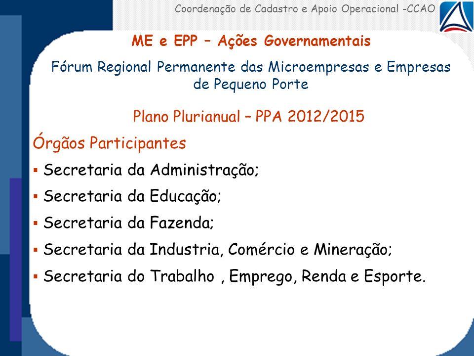 Coordenação de Cadastro e Apoio Operacional -CCAO Plano Plurianual – PPA 2012/2015 Órgãos Participantes Secretaria da Administração; Secretaria da Edu