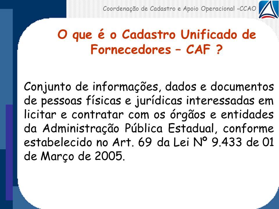 Conjunto de informações, dados e documentos de pessoas físicas e jurídicas interessadas em licitar e contratar com os órgãos e entidades da Administra