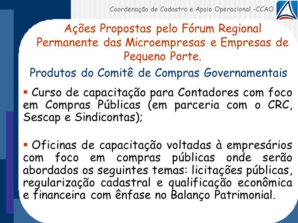 Coordenação de Cadastro e Apoio Operacional -CCAO Produtos do Comitê de Compras Governamentais Curso de capacitação para Contadores com foco em Compra