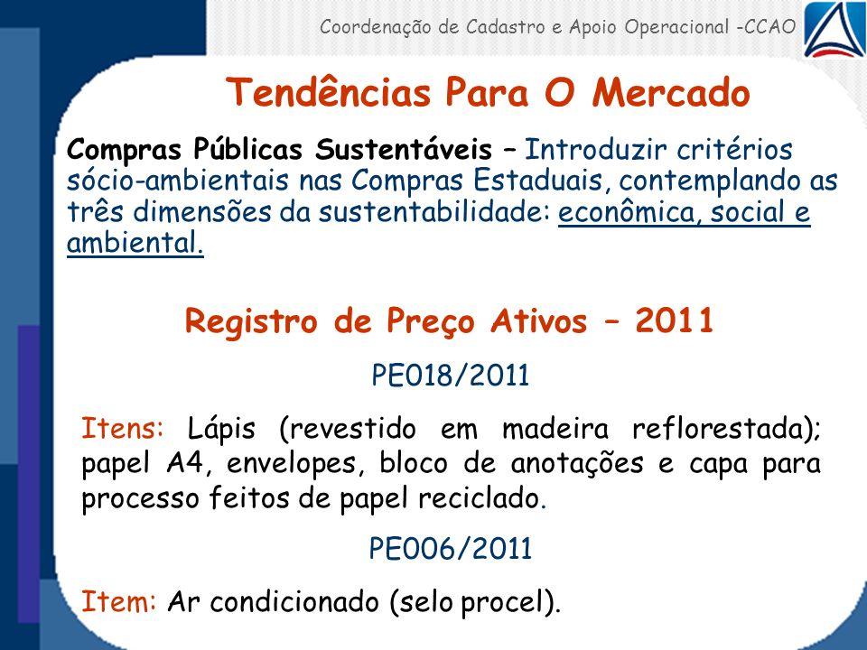 Coordenação de Cadastro e Apoio Operacional -CCAO Compras Públicas Sustentáveis – Introduzir critérios sócio-ambientais nas Compras Estaduais, contemp