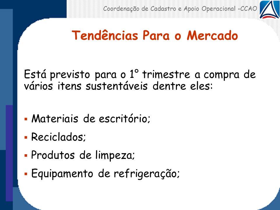 Coordenação de Cadastro e Apoio Operacional -CCAO Tendências Para o Mercado Está previsto para o 1° trimestre a compra de vários itens sustentáveis de