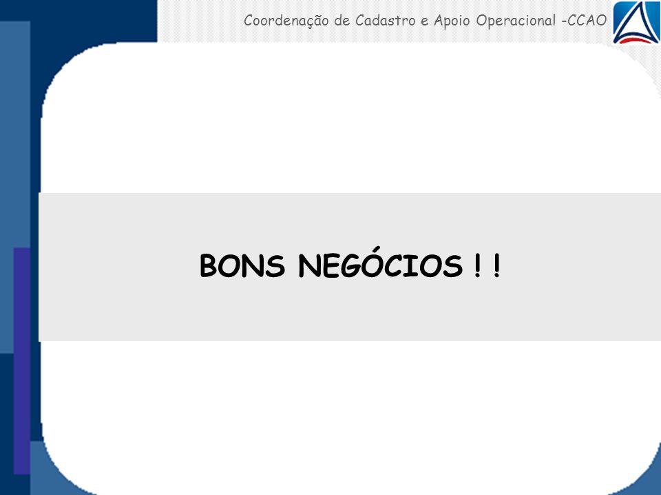 Coordenação de Cadastro e Apoio Operacional -CCAO BONS NEGÓCIOS ! !