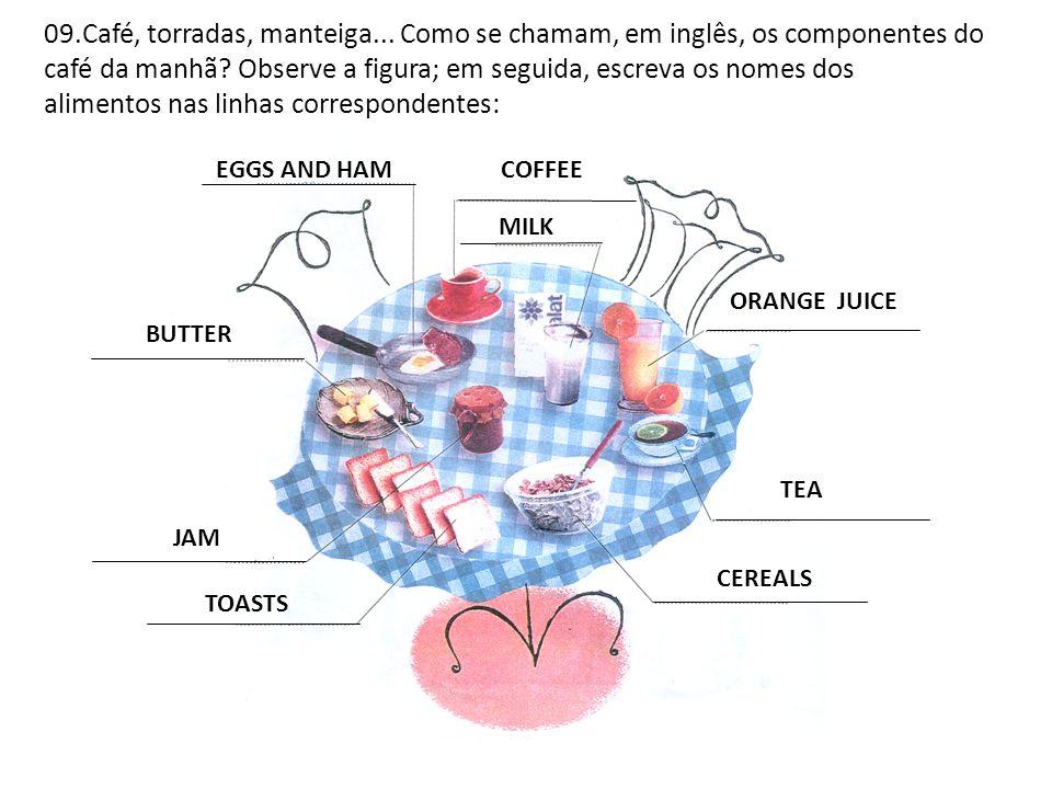 09.Café, torradas, manteiga... Como se chamam, em inglês, os componentes do café da manhã? Observe a figura; em seguida, escreva os nomes dos alimento