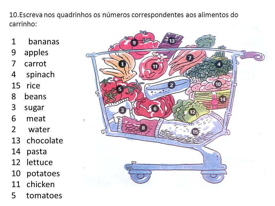 10.Escreva nos quadrinhos os números correspondentes aos alimentos do carrinho: 1 bananas 9 apples 7 carrot 4 spinach 15 rice 8 beans 3 sugar 6 meat 2 water 13 chocolate 14 pasta 12 lettuce 10 potatoes 11 chicken 5 tomatoes