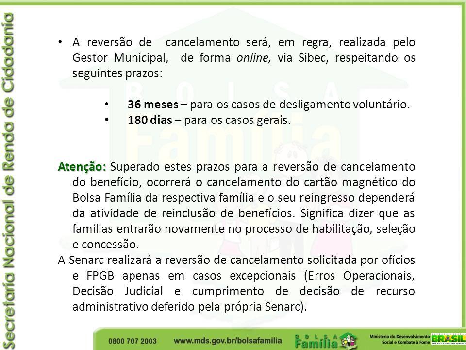 A reversão de cancelamento será, em regra, realizada pelo Gestor Municipal, de forma online, via Sibec, respeitando os seguintes prazos: 36 meses – pa