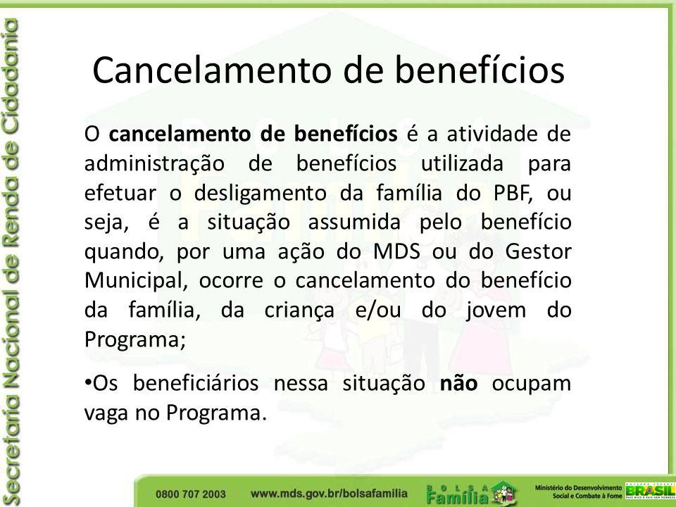 Cancelamento de benefícios O cancelamento de benefícios é a atividade de administração de benefícios utilizada para efetuar o desligamento da família