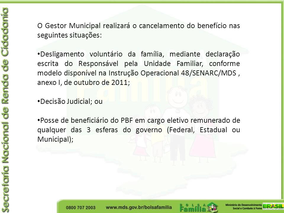 O Gestor Municipal realizará o cancelamento do benefício nas seguintes situações: Desligamento voluntário da família, mediante declaração escrita do R