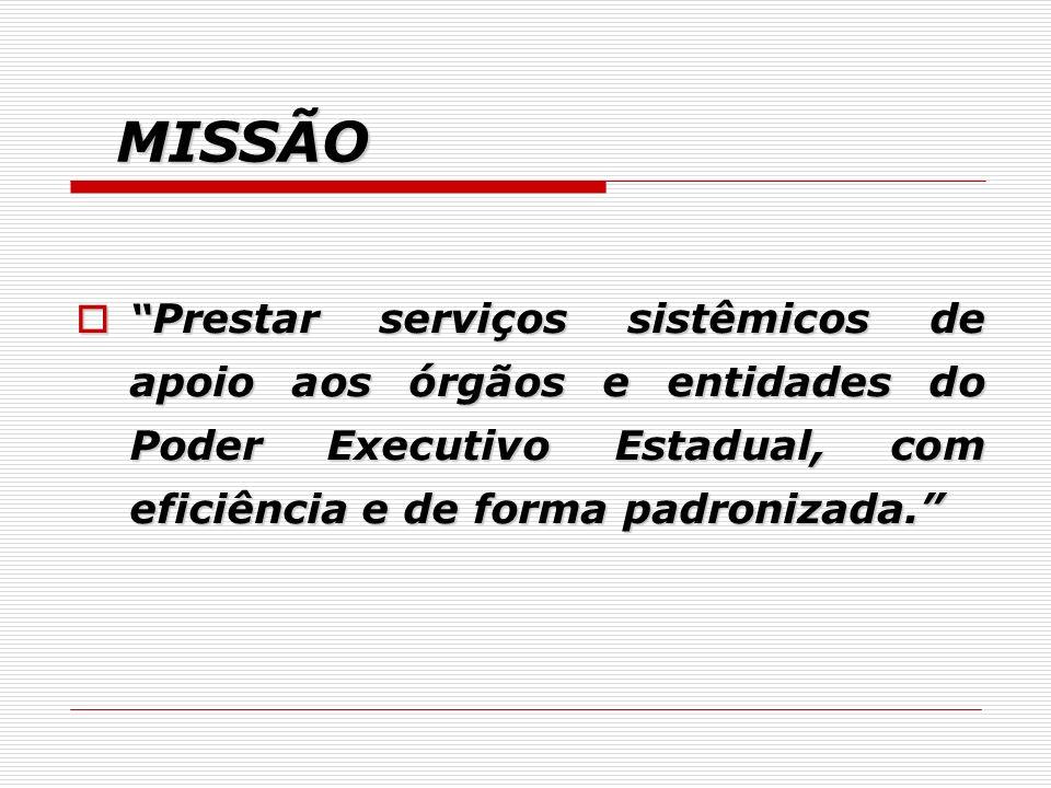 MISSÃO Prestar serviços sistêmicos de apoio aos órgãos e entidades do Poder Executivo Estadual, com eficiência e de forma padronizada. Prestar serviço