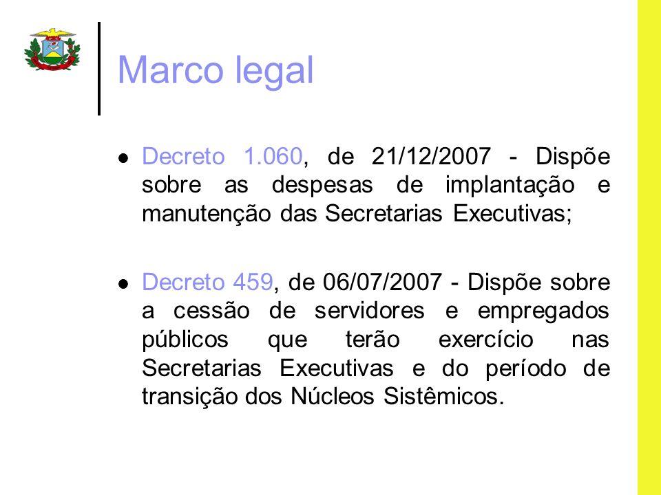 Marco legal Decreto 1.060, de 21/12/2007 - Dispõe sobre as despesas de implantação e manutenção das Secretarias Executivas; Decreto 459, de 06/07/2007