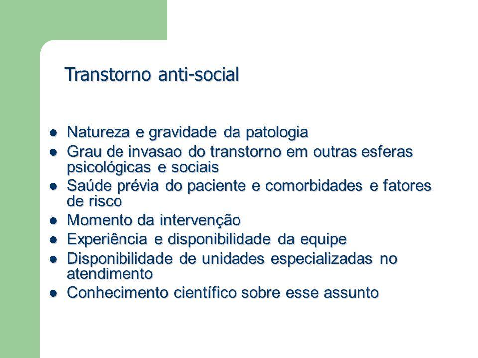 Natureza e gravidade da patologia Natureza e gravidade da patologia Grau de invasao do transtorno em outras esferas psicológicas e sociais Grau de inv