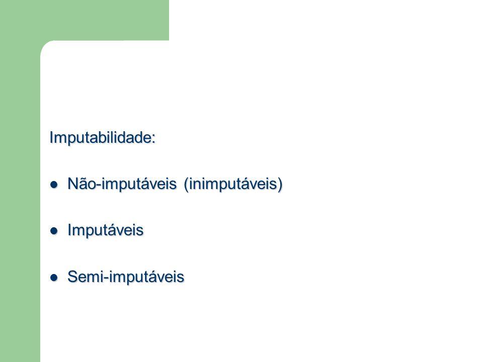 Imputabilidade: Não-imputáveis (inimputáveis) Não-imputáveis (inimputáveis) Imputáveis Imputáveis Semi-imputáveis Semi-imputáveis