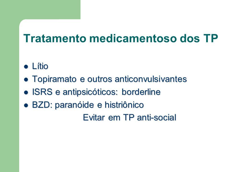 Tratamento medicamentoso dos TP Lítio Lítio Topiramato e outros anticonvulsivantes Topiramato e outros anticonvulsivantes ISRS e antipsicóticos: borde