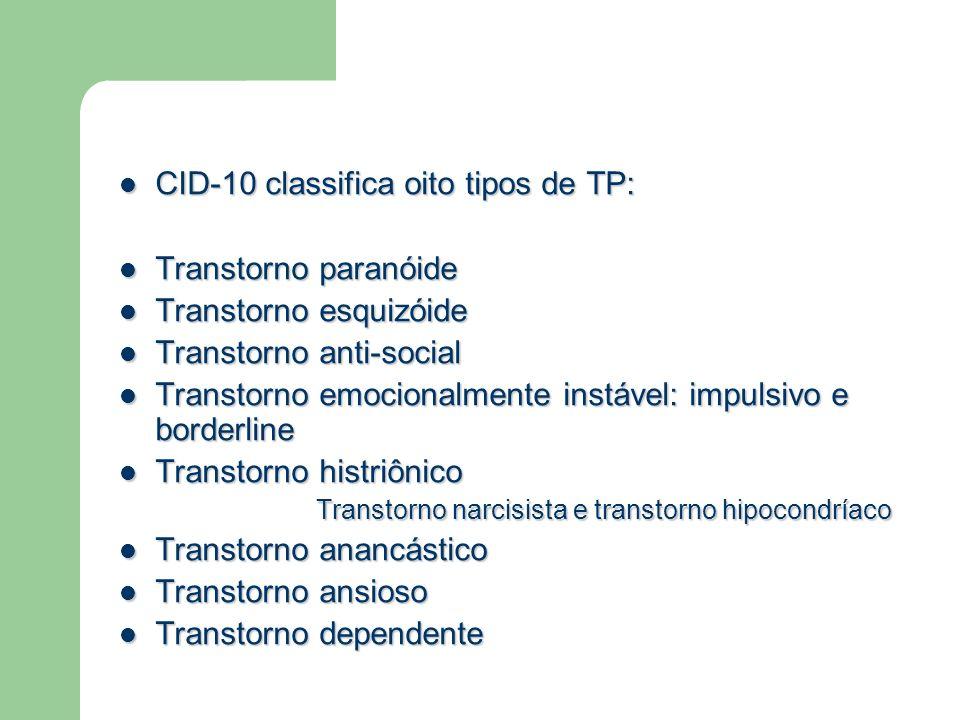 CID-10 classifica oito tipos de TP: CID-10 classifica oito tipos de TP: Transtorno paranóide Transtorno paranóide Transtorno esquizóide Transtorno esq