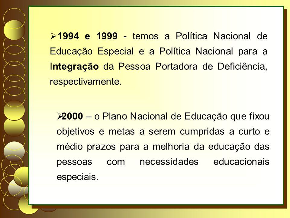 1994 e 1999 - temos a Política Nacional de Educação Especial e a Política Nacional para a Integração da Pessoa Portadora de Deficiência, respectivamente.