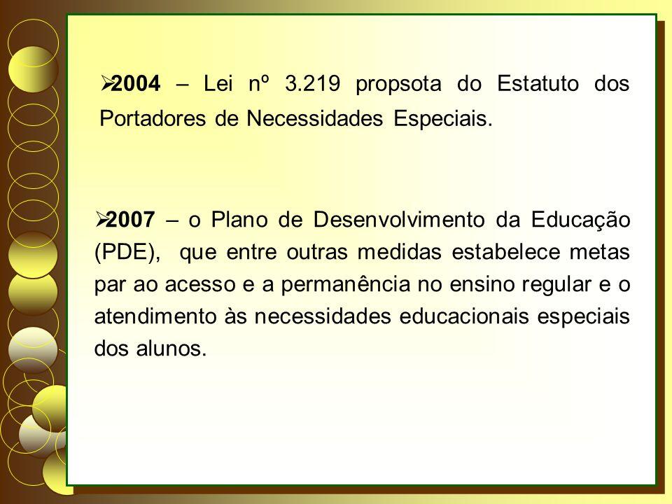 2004 – Lei nº 3.219 propsota do Estatuto dos Portadores de Necessidades Especiais. 2007 – o Plano de Desenvolvimento da Educação (PDE), que entre outr