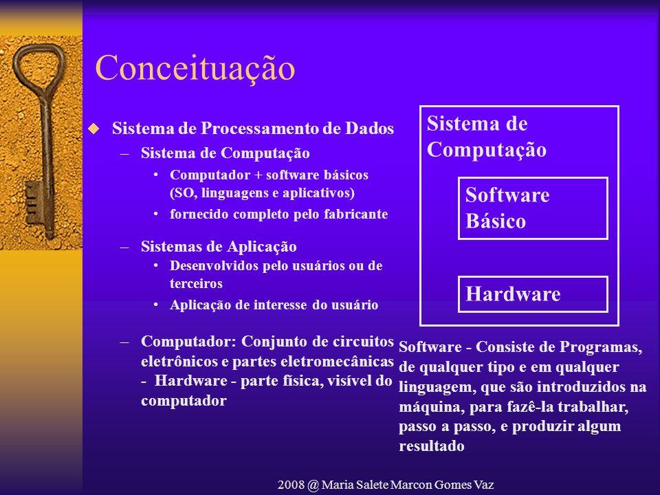 2008 @ Maria Salete Marcon Gomes Vaz Conceituação Sistema de Processamento de Dados –Sistema de Computação Computador + software básicos (SO, linguage