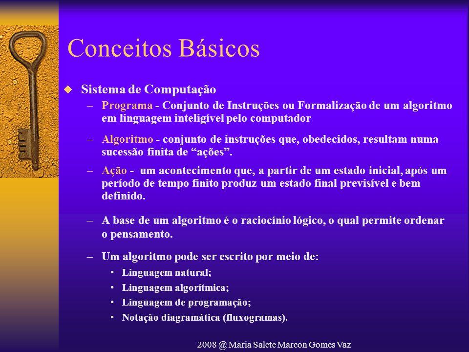2008 @ Maria Salete Marcon Gomes Vaz Conceitos Básicos Sistema de Computação –Programa - Conjunto de Instruções ou Formalização de um algoritmo em lin