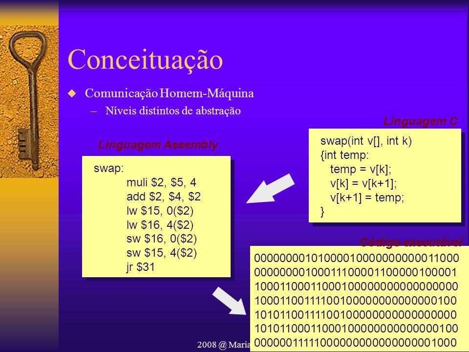 2008 @ Maria Salete Marcon Gomes Vaz Conceituação Comunicação Homem-Máquina –Níveis distintos de abstração swap(int v[], int k) {int temp: temp = v[k]