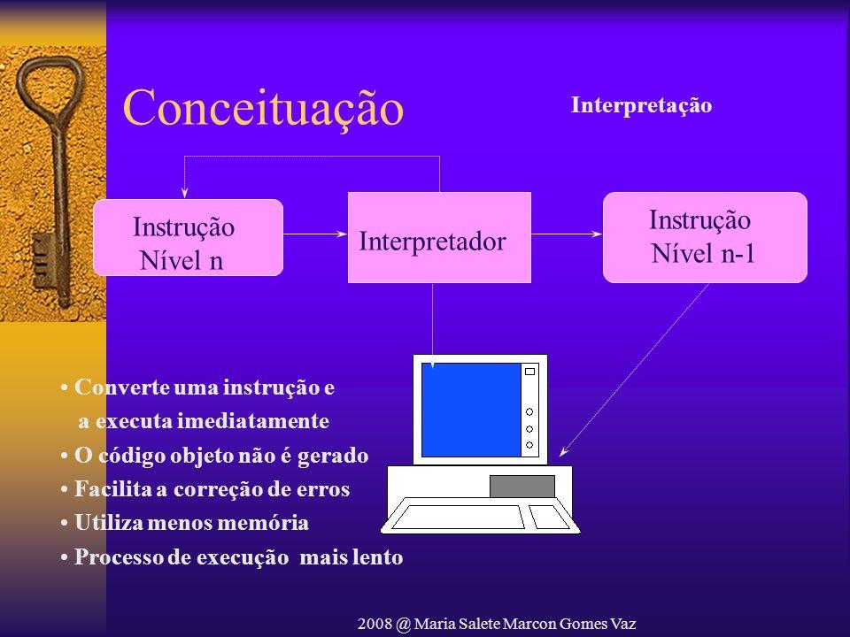 2008 @ Maria Salete Marcon Gomes Vaz Conceituação Instrução Nível n Interpretador Instrução Nível n-1 Converte uma instrução e a executa imediatamente