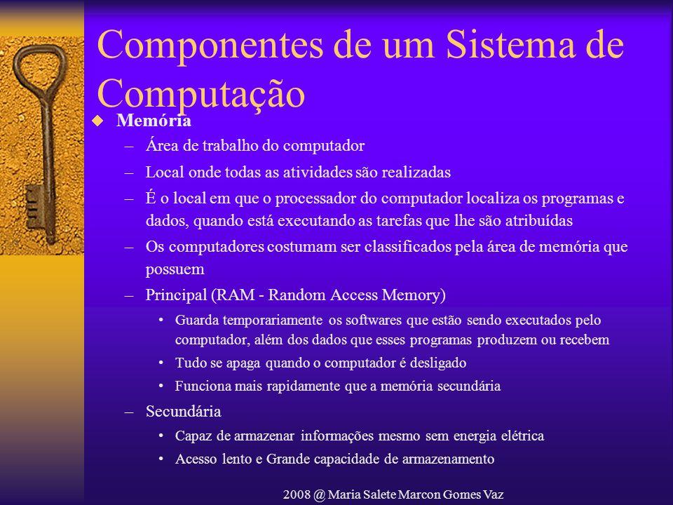 2008 @ Maria Salete Marcon Gomes Vaz Componentes de um Sistema de Computação Memória –Área de trabalho do computador –Local onde todas as atividades s