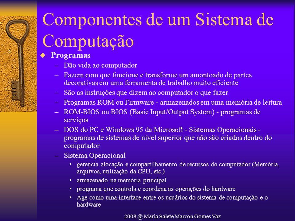 2008 @ Maria Salete Marcon Gomes Vaz Componentes de um Sistema de Computação Programas –Dão vida ao computador –Fazem com que funcione e transforme um