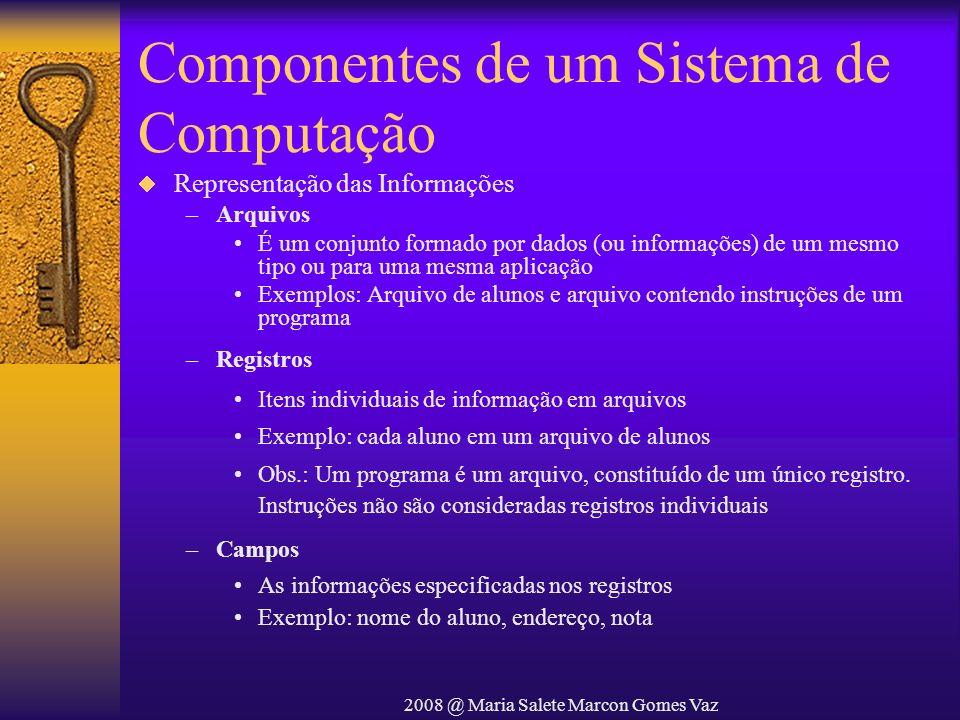 2008 @ Maria Salete Marcon Gomes Vaz Componentes de um Sistema de Computação Representação das Informações –Arquivos É um conjunto formado por dados (