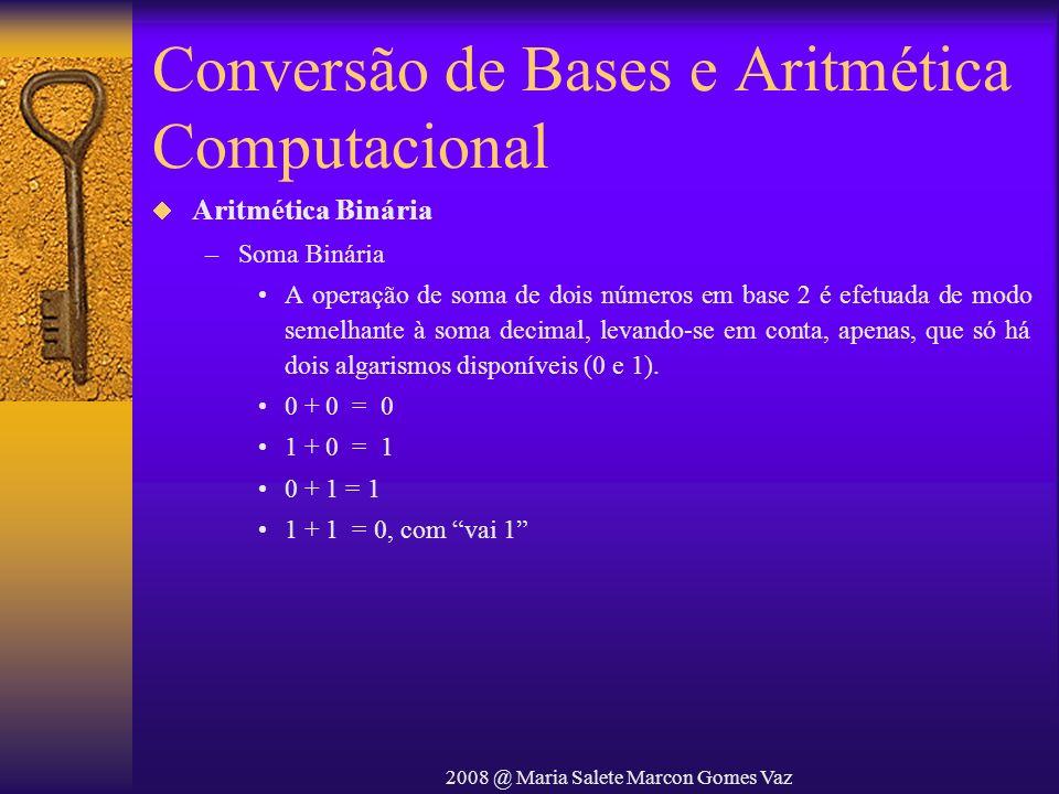 2008 @ Maria Salete Marcon Gomes Vaz Conversão de Bases e Aritmética Computacional Aritmética Binária –Soma Binária A operação de soma de dois números