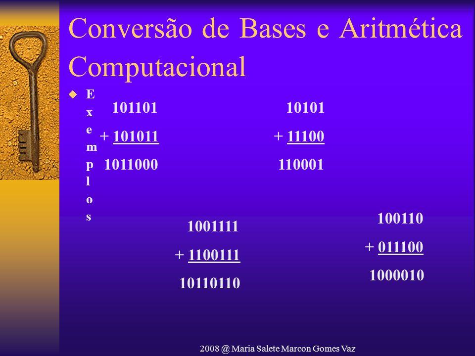 2008 @ Maria Salete Marcon Gomes Vaz Conversão de Bases e Aritmética Computacional 101101 + 101011 1011000 10101 + 11100 110001 100110 + 011100 100001